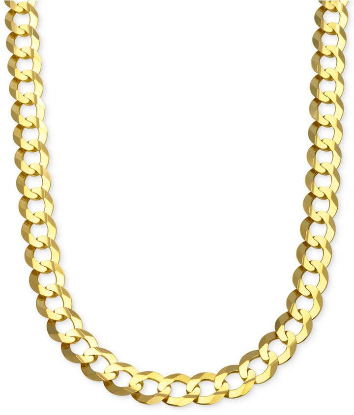 Italian Gold Curb Chain Link Necklace 10 Mm In Solid 10k Gold Reviews Necklaces Jewelry Watches Macy S Gold Chains For Men Mens Chain Necklace Chains For Men