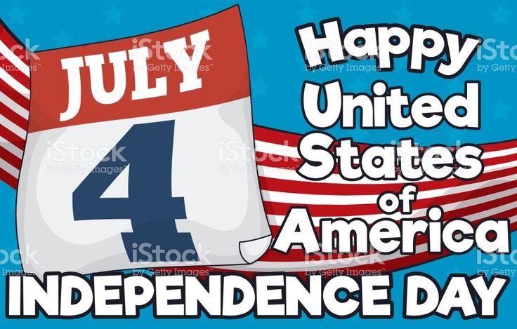 Loose-leaf Calendar over American Flag for Independence Day in July 4