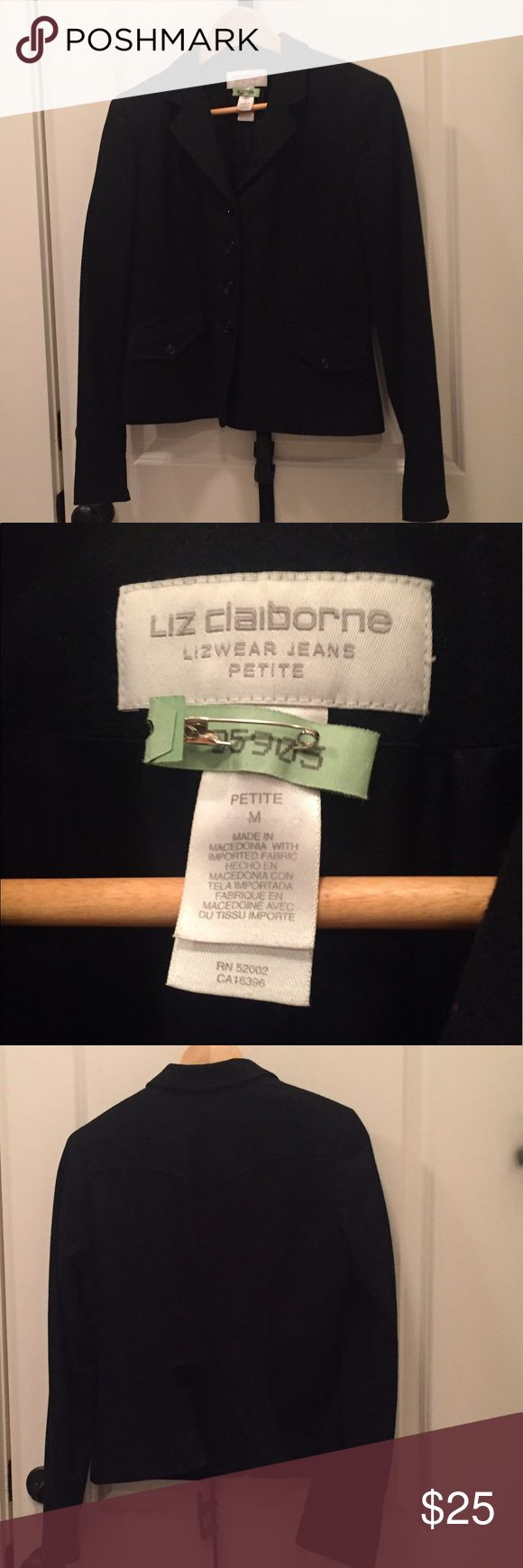Liz Claiborne Petites Suit Jacket Black Liz Claiborne Petites Suit Jacket, Size Medium. 4 center front buttons. Two welt pockets with flaps at side. Back yoke. Shorter length suit jacket. Recently dry cleaned with dry cleaning tags. Smoke free home. Worn once. Liz Claiborne Jackets & Coats Blazers