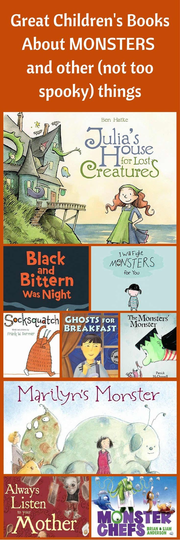 Spooky and Monster Books for Kids - great books for Halloween or year round!  Children's book list by Planet Jinxatron