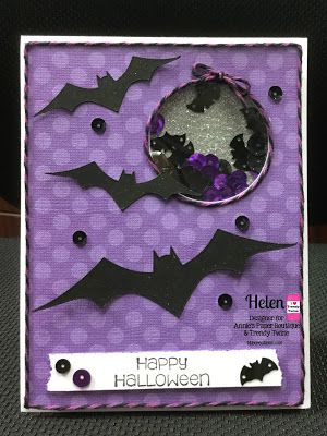 DT Helen @ Twine It Up! by Annie's Paper Boutique shares a  Halloween Shaker card using  Grape Licorice Trendy Twine and some Grape Licorice Batty - Halloween Sequins.
