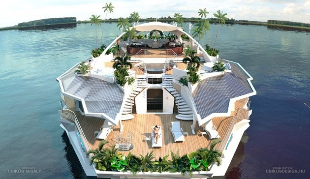 """The floating island offers more than 10,000 square feet of living space and enough rooms to accommodate 12 people, as well as up to four staff members. Measuring 66 feet by 121 feet, this """"island"""" has no engine but can be anchored anywhere its owners choose and then towed to another location if they wish."""