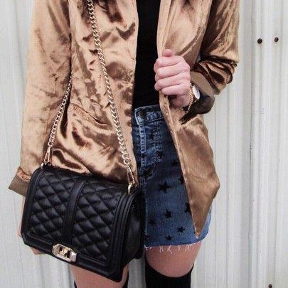 Metallic blazer, denim mini, Rebecca Minkoff bag, Daniel Wellington watch, detail shot