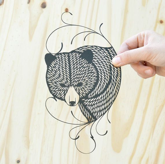 Emily Brown - Bear . original papercut . $78