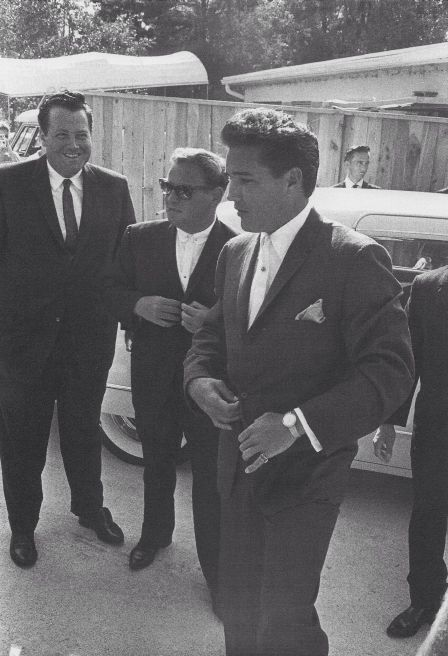 This shot taken in 1961, shows the look that gained  Elvis' and his guys the Memphis Mafia nickname.