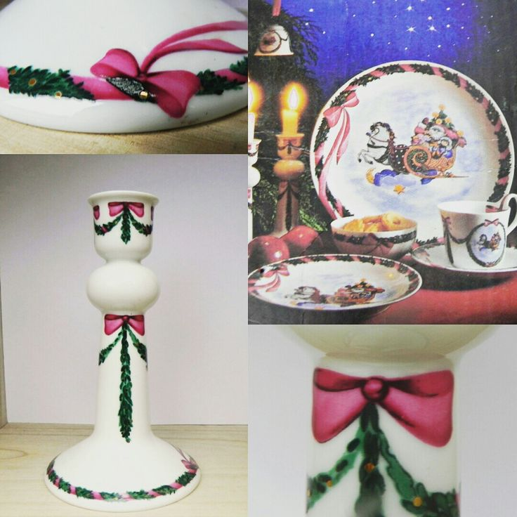 "Royal Copenhagen JingleBells porcelain Candlestick - santa on his sleigh; check out MyDanishHeritage on Etsy for lots of ""Ho Ho Ho"""