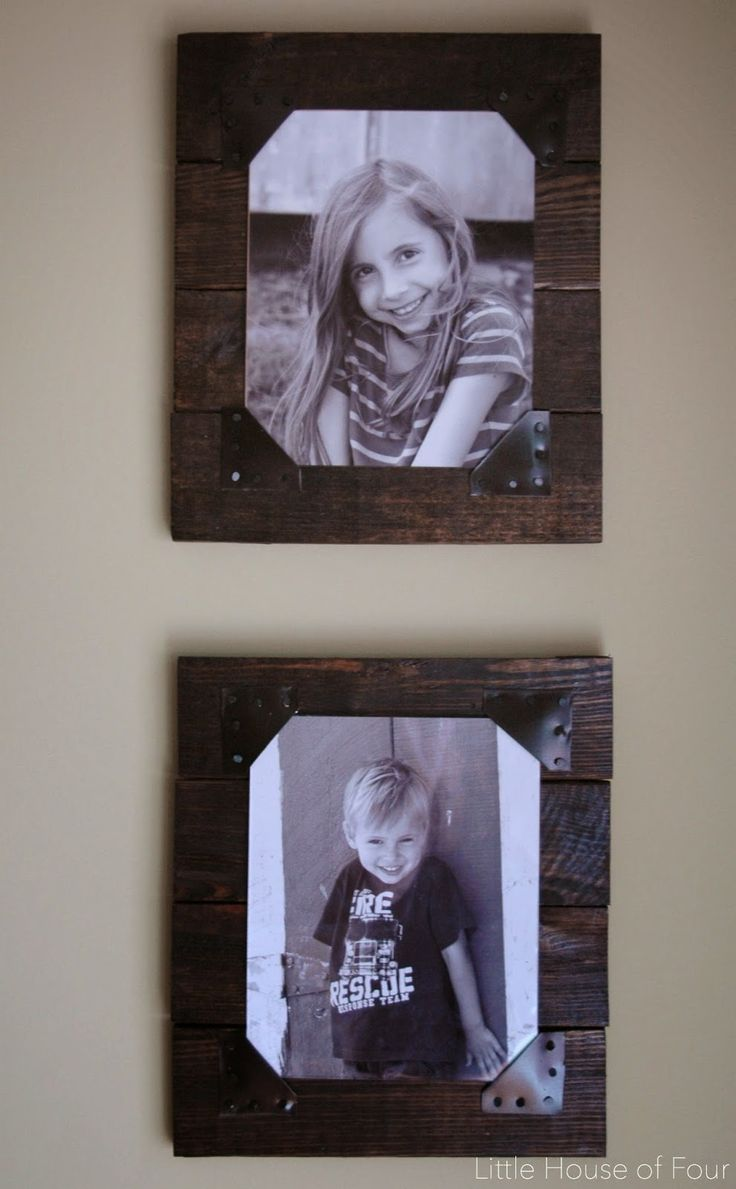 DIY Rustic Pallet Frames from Little House Of Four, use the scraps of leather for the corners