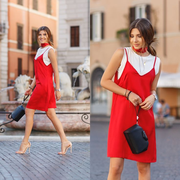 Red slip dress over a white tee and Givenchy antigona bag today on my blog: http://themysteriousgirl.ro/2016/09/red-slip/