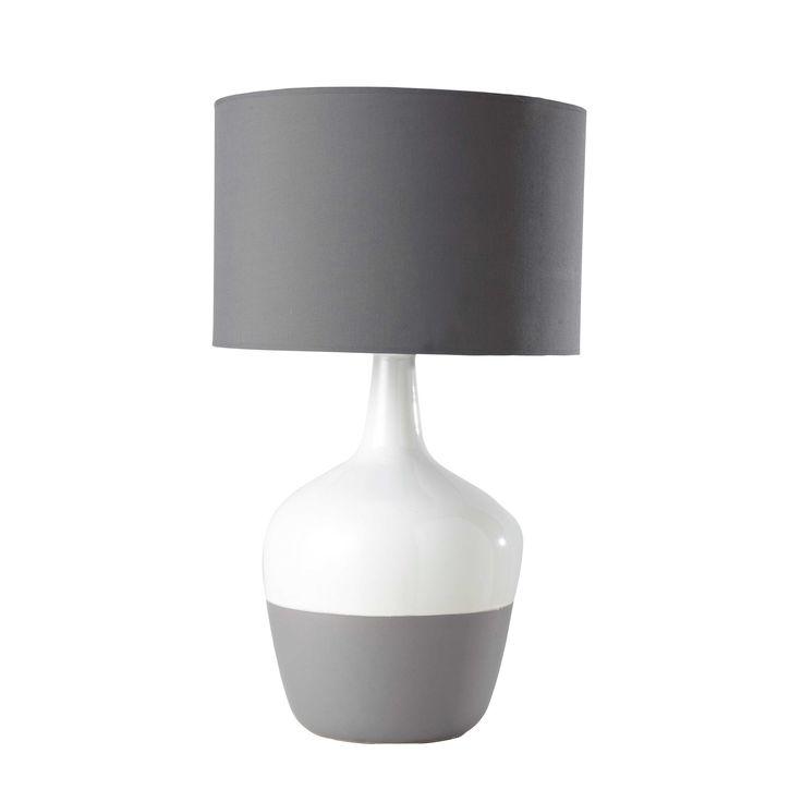 Lampada grigia in ceramica e abat-jour in cotone H 71 cm ERICSEN