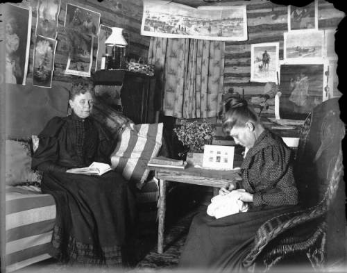 My great (x4) grandmother, Elizabeth Byers & her daughter, Mary Byers Robinson in Mary's cabin in Ferndale, Colorado