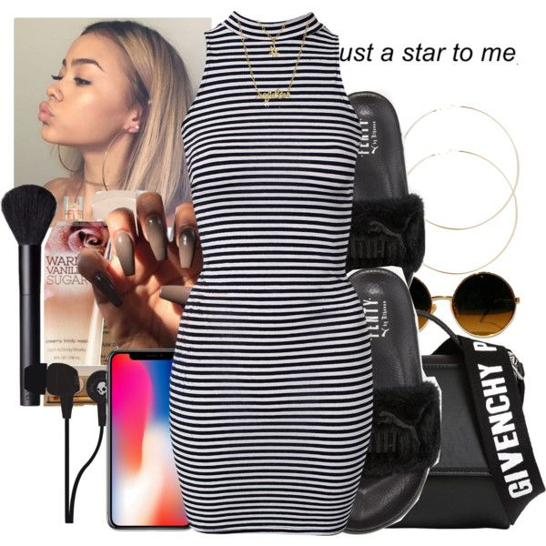A fashion look from December 2017 featuring River Island dresses, Puma sandals and Givenchy shoulder bags. Browse and shop related looks.