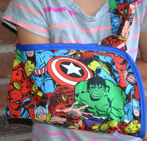 Avengers Child's Arm Sling by sassysling on Etsy, $25.00
