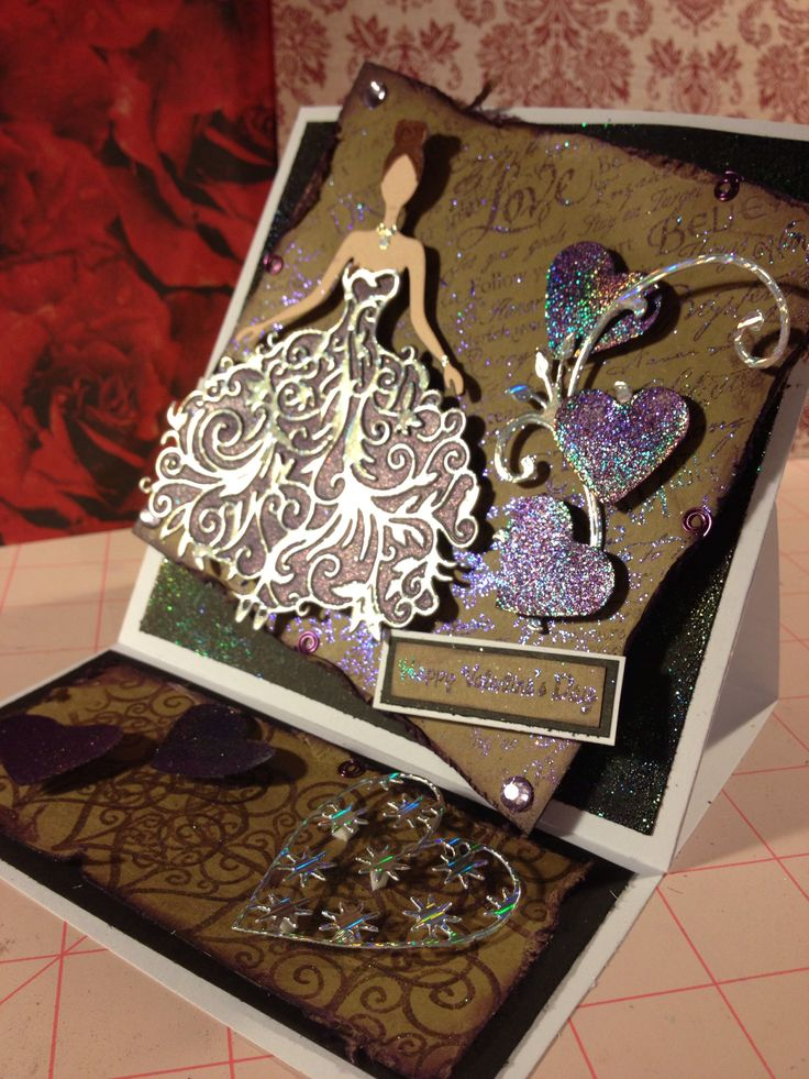 Tattered lace Bella Valentines card in purple silver black