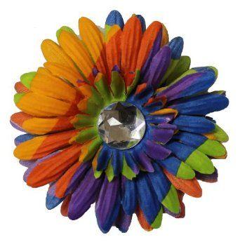Girls New Variegated Bright Colors Rhinestone Daisy Flower Hair Bow (5009) Webb Direct 2U. $2.99
