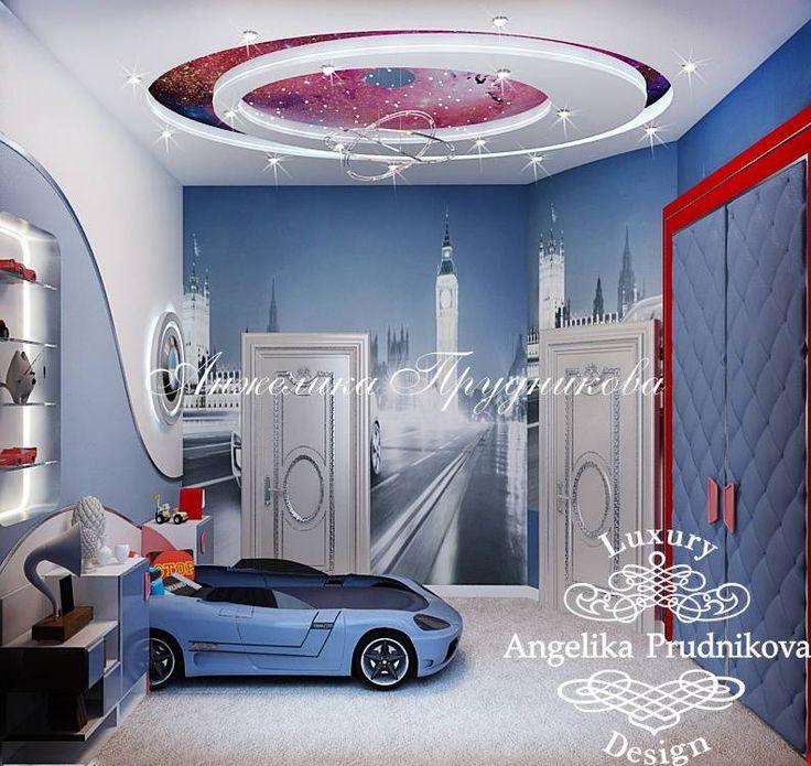 Дизайн детской комнаты на автомобильную тематику (BMW). Фото интерьера