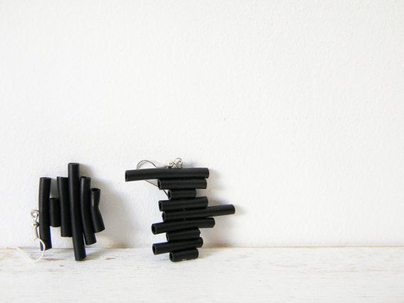 Black rubber earrings  minimal abstract geometric by BlackRedDots