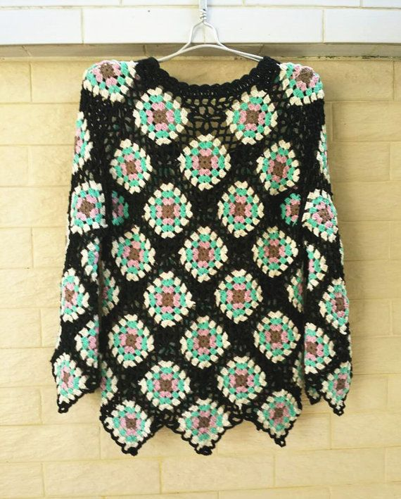 Crochet Granny Square Sweater Long Sleeve Women by TinaCrochet2016