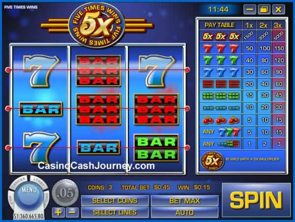 """Five Times Wins is a Rival powered classic online slot with 3 reels and 3 pay-lines. The game is very simple to play and features the """"5x"""" symbol, which pays up to 5,000 coins and substitutes for all symbols in the game. While doing so, it multiplies all wins by 5 as well. More this way...   http://www.casinocashjourney.com/blog/five-times-wins-slot-rival-gaming/"""