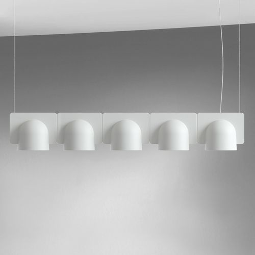 The FontanaArte Igloo 5 Suspension Light is a family of suspension lamps in a series of down-light or up- and down-light configurations. The basic element is the unit in self-extinguishing plastic technopolymer. $2,247