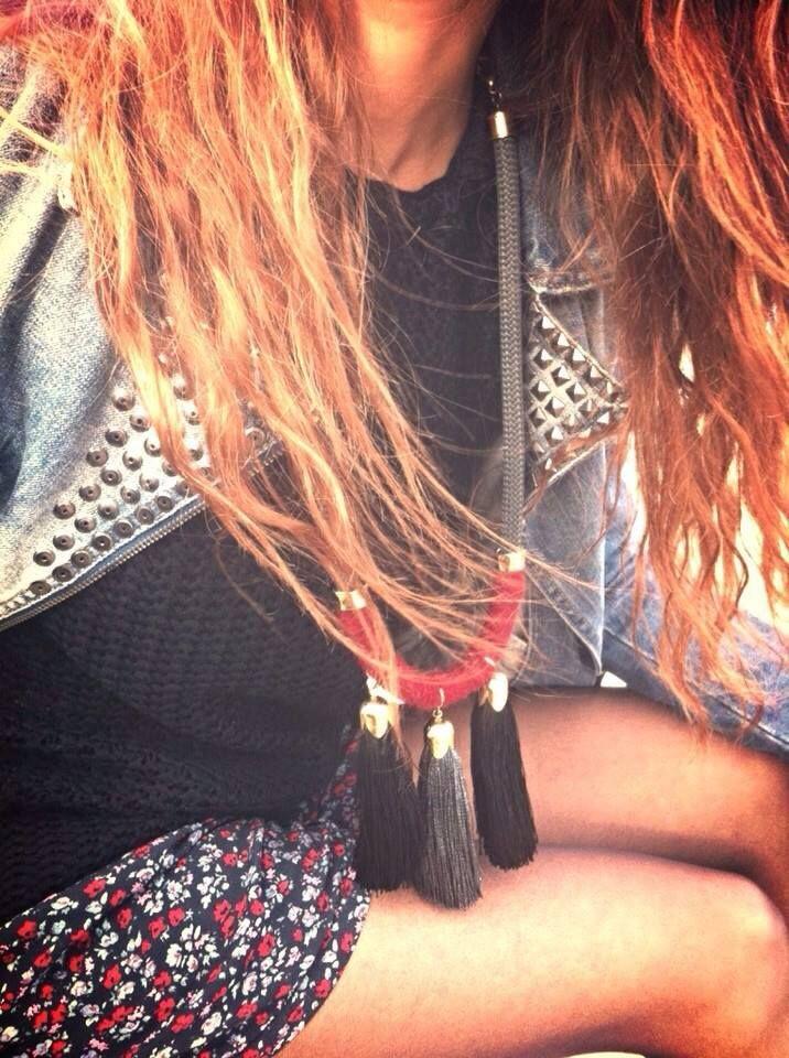 3 tassels necklace # Bordeaux & Grey & Black