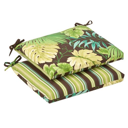 Outdoor Green/Brown Tropical/Striped Seat Cushion Squared Reversible, Set of Two