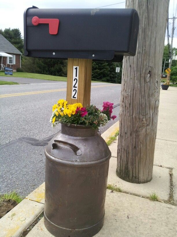 Recycled An Old Milk Can Into A Mailbox Post An Homage To