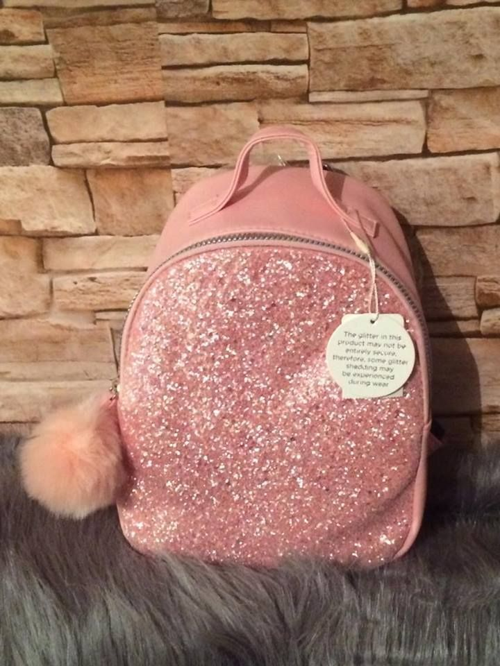 4d519e184d28 Details about Primark Pink with Coloured Glitter Girls Backpack Kids ...