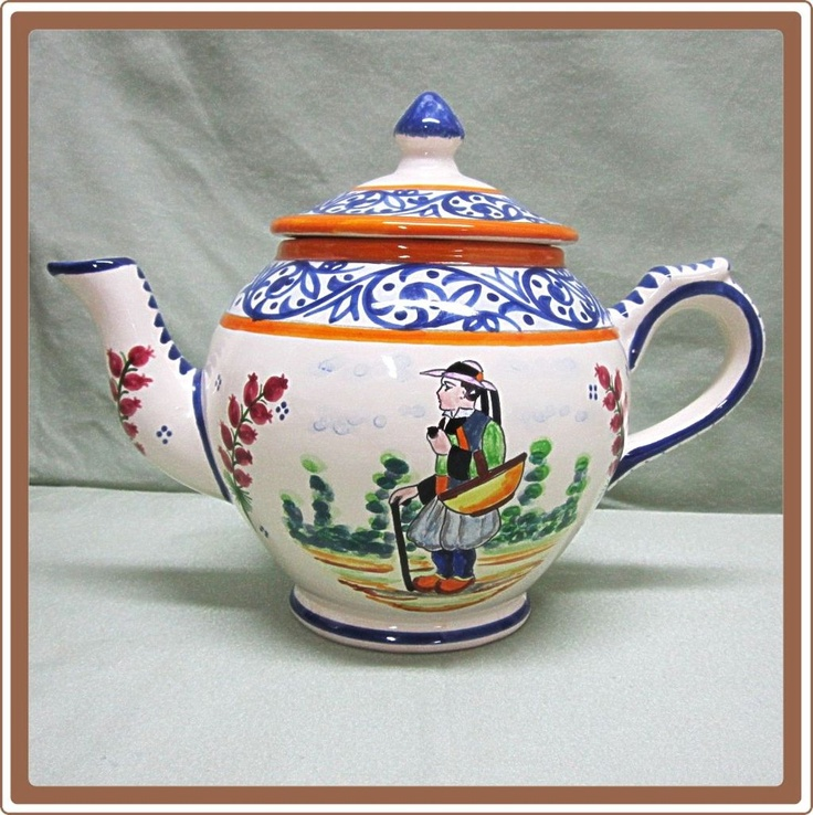 h b quimper pottery teapot breton man kannor av. Black Bedroom Furniture Sets. Home Design Ideas