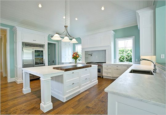 Love the ceiling, paint color, butcher block on the island...well...everything!