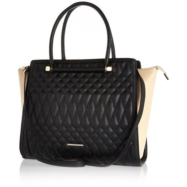 River Island Black quilted tote bag (580 EGP) ❤ liked on Polyvore featuring bags, handbags, tote bags, sale, structured handbags, tote handbags, quilted purses, strap purse and river island purses