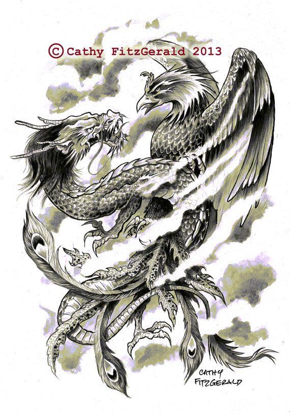 A4 Dragon Phoenix Japanese Tattoo Art Print by misslilylocket