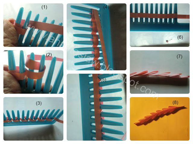 (Part 1 of 2)---written directions on post---Anastasia (Annie) Wahalatantiri: Quilling leaves with comb part 2