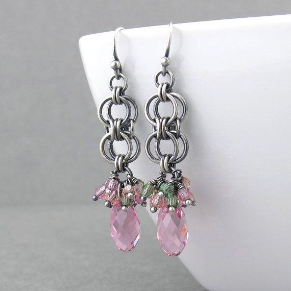 Rosa de cristal Pendientes racimo rosa pendientes pendientes rosa plata esterlina joyas joyería rosa joyas regalo para ella - lágrima