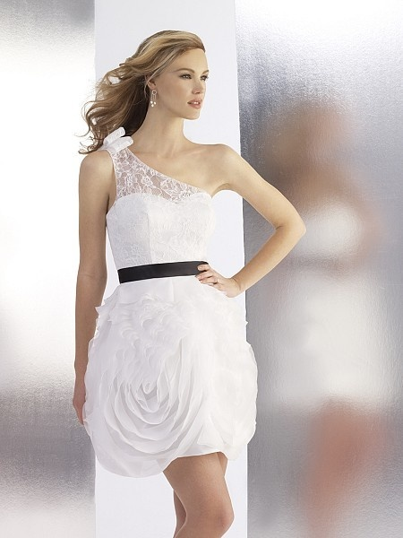 A-Line One Shoulder Above Knee-Length Gown with Chiffon and Lace Style T540