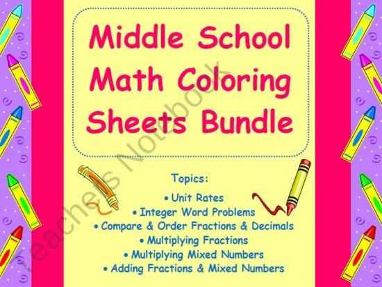 middle school math coloring sheets bundle from math in the middle grades on teachersnotebookcom - Middle School Coloring Sheets