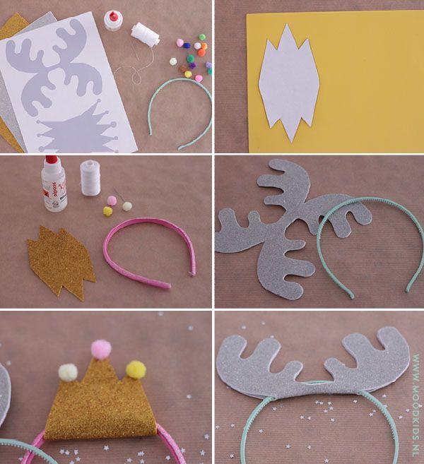 Para hacer con los niños unos cuernos de Rudolph o una coronita de Rey Mago ¡Muy fácil! || diy, haarband, kroon, gewei, kerst