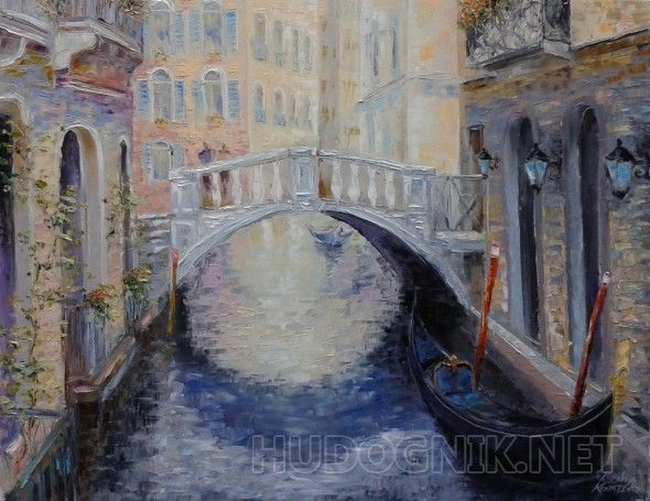 картина*Звуки нежной баркаролы Веют легким ветерком...* Oil on canvas 90х70 cm UPS/ DHL / FEDEX Art for sale  Kseniya Kovalenko art