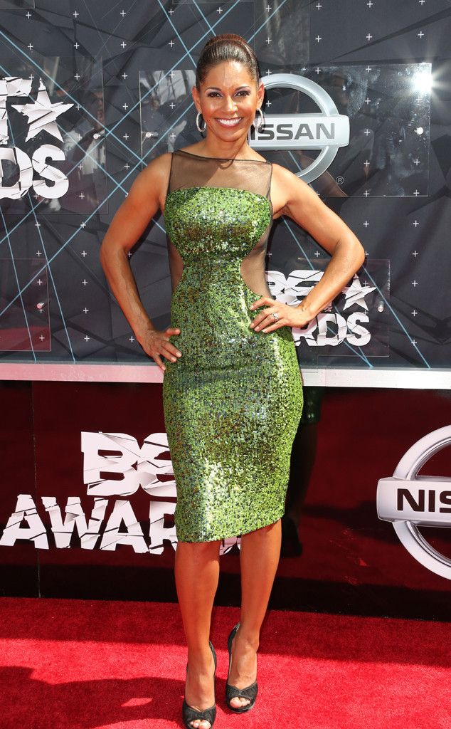 Salli Richardson-Whitfield from 2015 BET Awards: Red Carpet Arrivals  The sheer illusion panel trend is alive and well on this beauty.