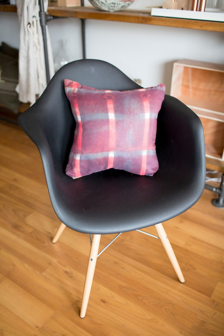 Earnest Chair in black with a lovely hand dyed cushion by Coeur de Lion.  Photography by Sachin Khona