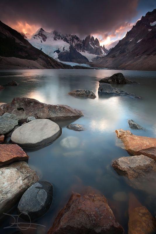 Last light on the Cerro Torre by Emmanuelle Gerber