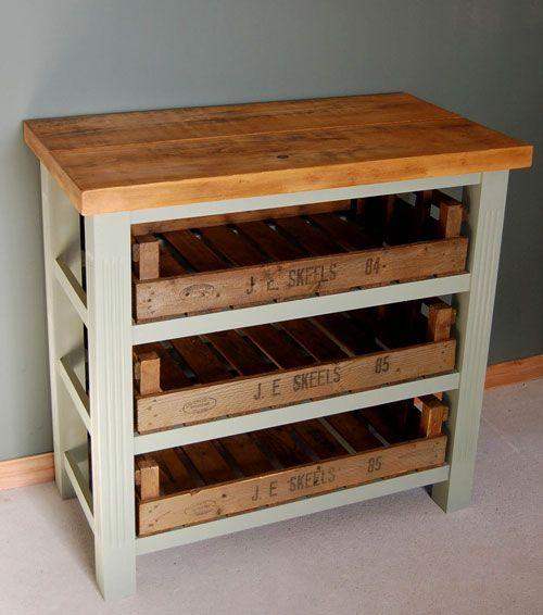 Vintage Style Wooden Kitchen Island Storage Unit