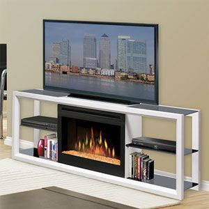 Dimplex Novara White Electric Fireplace Media Console - SGFP-300-W http://www.electricfireplacesdirect.com/products-accessories/TV-media-consoles/Dimplex-Novara-White-Electric-Fireplace-Media-Console-Glass-Embers