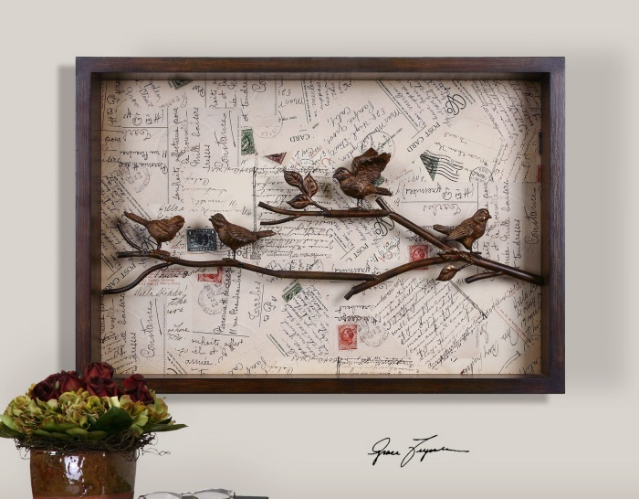 Wooden Birds On Branches With Vintage Postcard Background