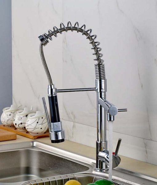 Alger Chrome Finish Dual Spout Kitchen Sink Faucet with Pull Out Sprayer 1