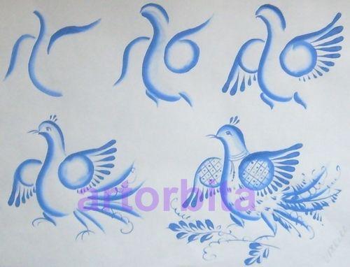 Рисунок. Раскладка птицы - гжель