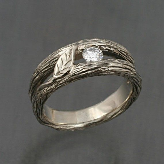 Solitaire Leaf and White Sapphire, A Twig Ring in Sterling Silver $135.00