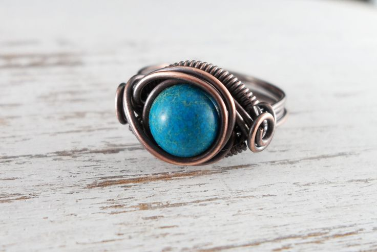 Wire Wrapped Ring Turquoise Imperial Jasper Copper Ring Dragons Eye Ring Wire Wrapped Jewelry Copper Jewelry Turquoise Ring by PolymerPlayin on Etsy