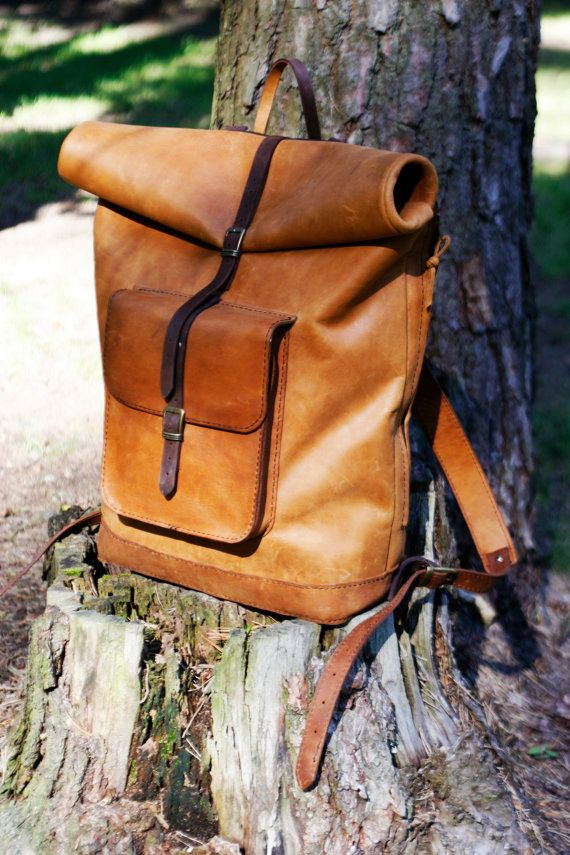 Leather backpack  roll top backpack  carry by StudioImpossibilis