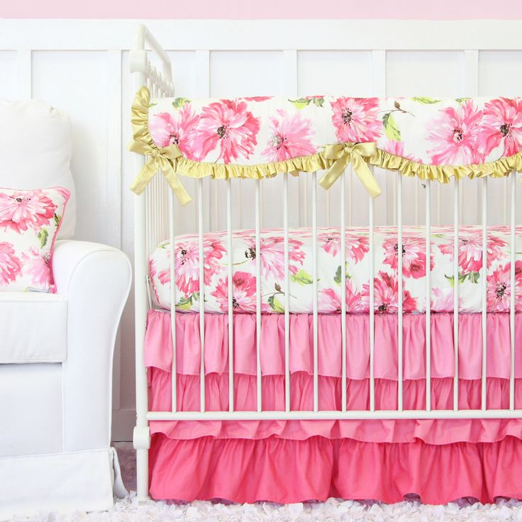 Caden Lane's Pink Petunia Crib Bedding is the perfect set for a floral pink and gold nursery design!