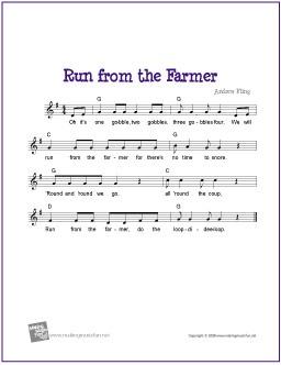 Run from the Farmer | Thanksgiving Free Sheet Music http://www.makingmusicfun.net/htm/f_printit_free_printable_sheet_music/run-from-the-farmer-lead-sheet.htm